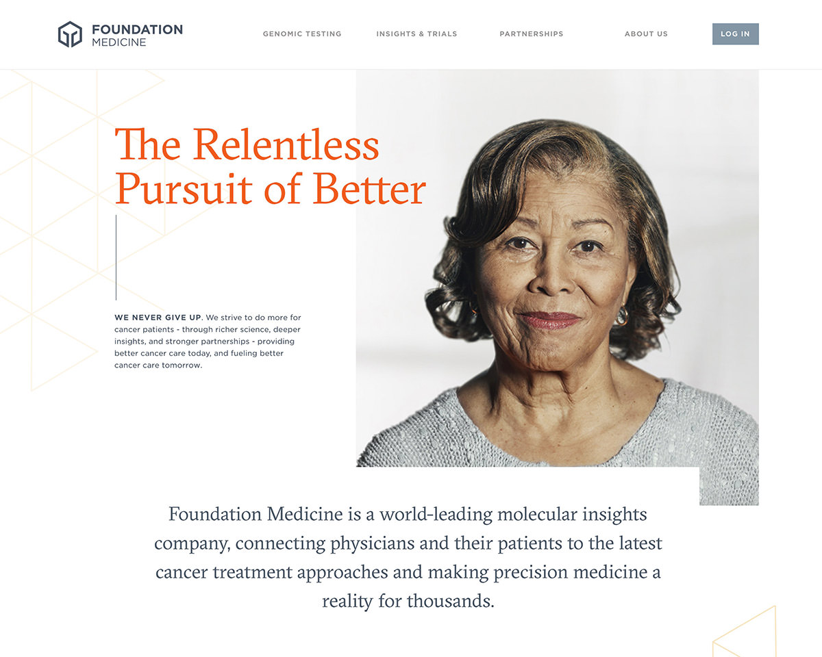 Screenshot of Foundation Medicine's homepage