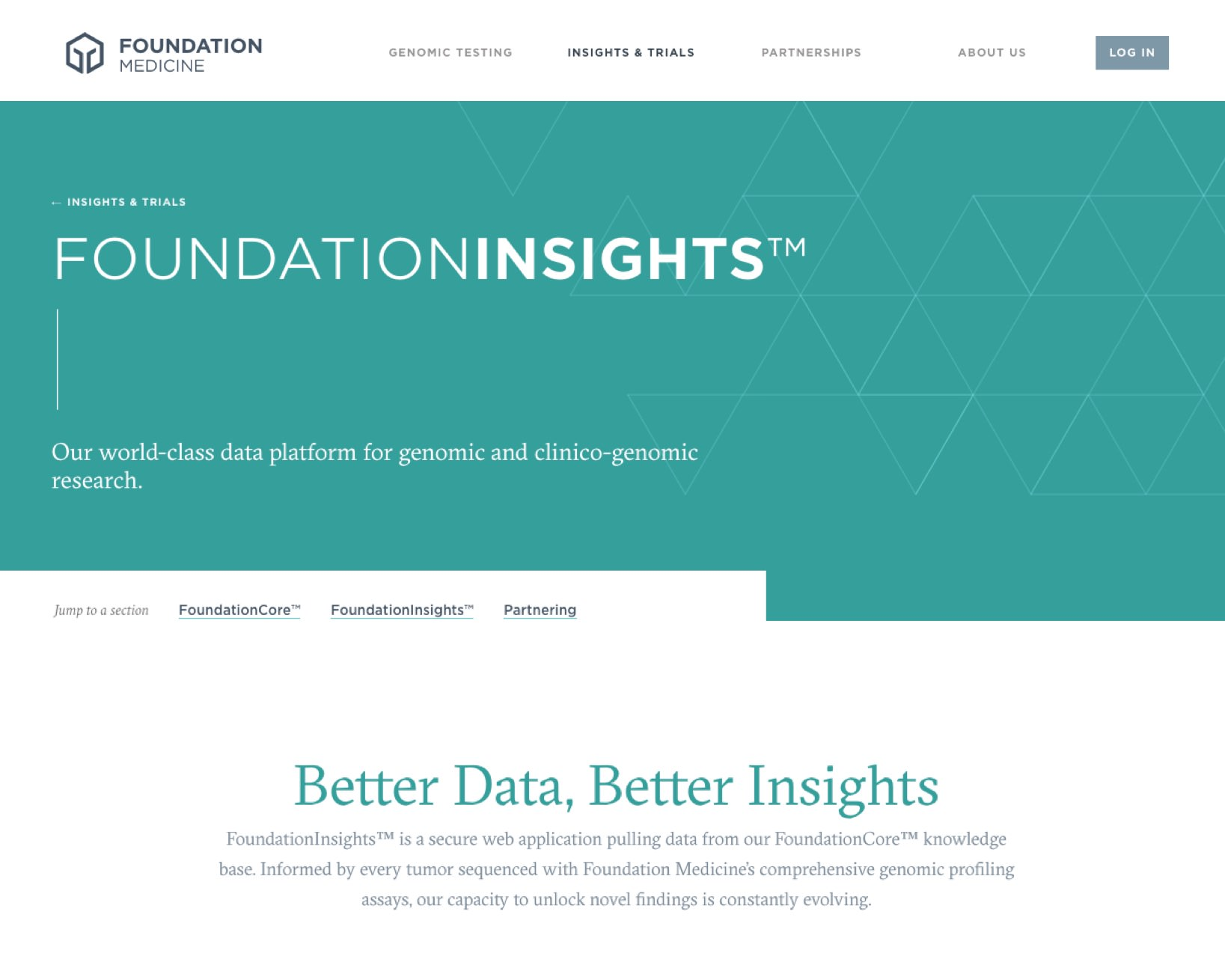 Screenshot of the top of the Foundation Insights page on a tablet