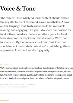 examples from the taste brand guidelines