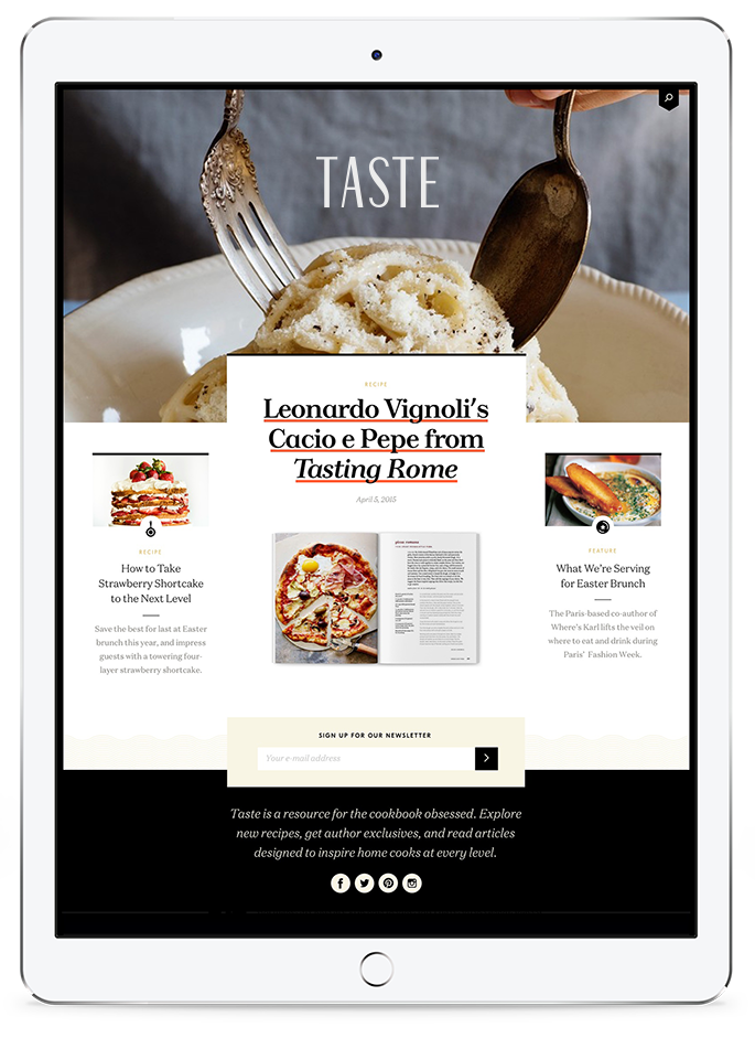 taste website on an ipad