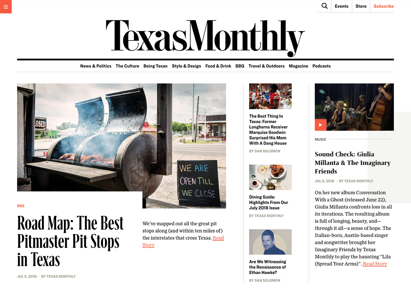 Texas Monthly home page