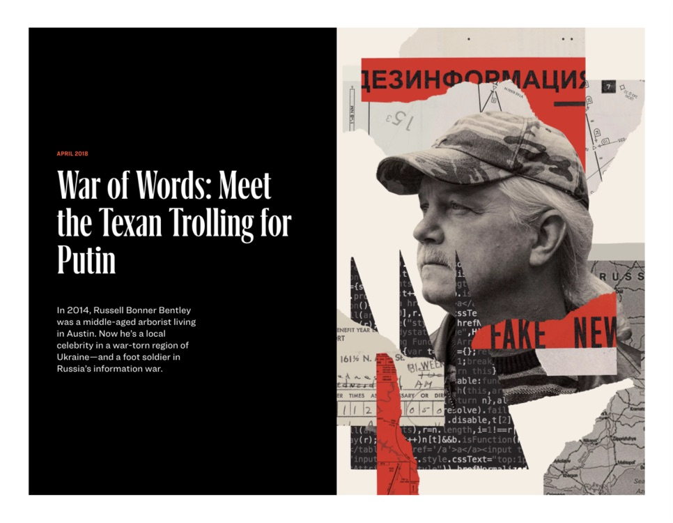 Article Topper: War of Words: Meet the Texan Trolling for Putin